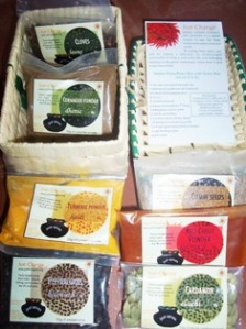 A range of Indian spices in a handmade basket